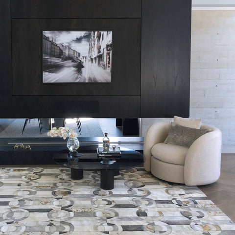 Curvo Gray and Gold cowhide Rug