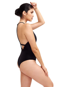 Side of Denise One Piece Swimsuit in Black