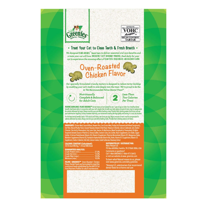 Greenies - Oven Roasted Chicken Flavor Oral Care Dental Treats - Cat 60g Treats
