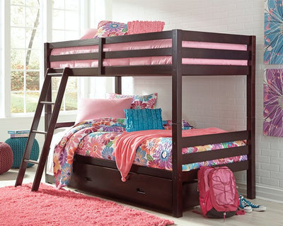 Halanton Signature Design by Ashley Twin over Twin Bunk Bed with 1 Large Storage Drawer