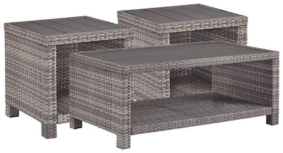 Salem Beach Signature Design By Ashley 3-Piece Outdoor Occasional Table Set