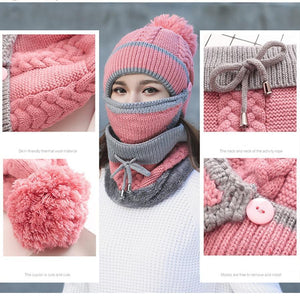 3-in-1 Beanie Scarf Mask Set