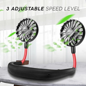 Portable Hanging Neck Sports Fan with Led Light & Perfume