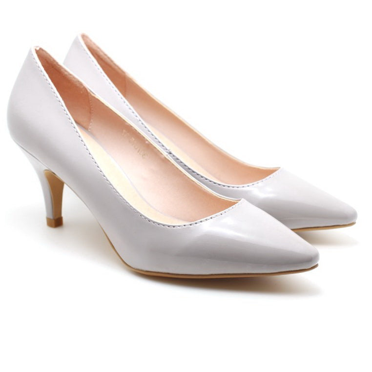 Patent Pointed Toe Pumps (Light Grey