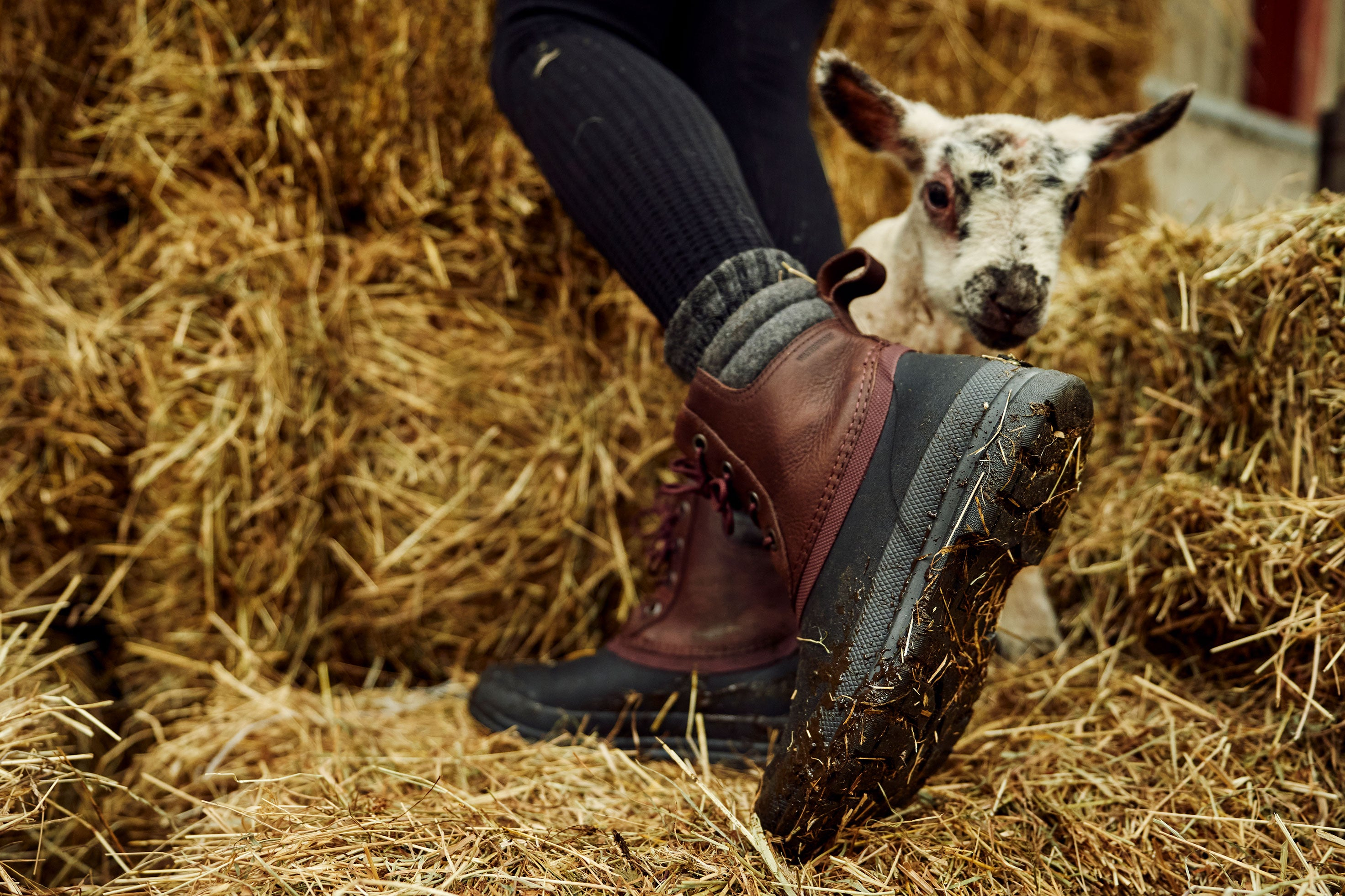 stepping on haybales