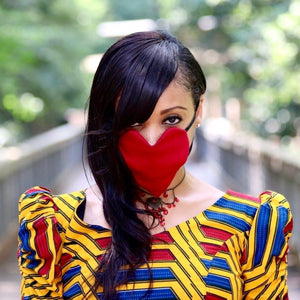 Woman's Red Heart Shaped Facemask
