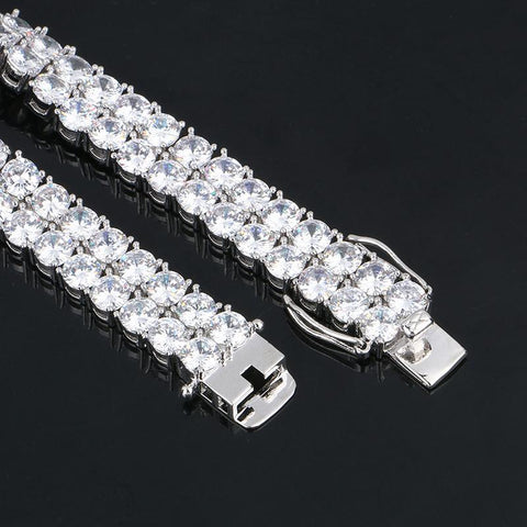 Double Layer Iced Out Tennis Bracelet In White Gold