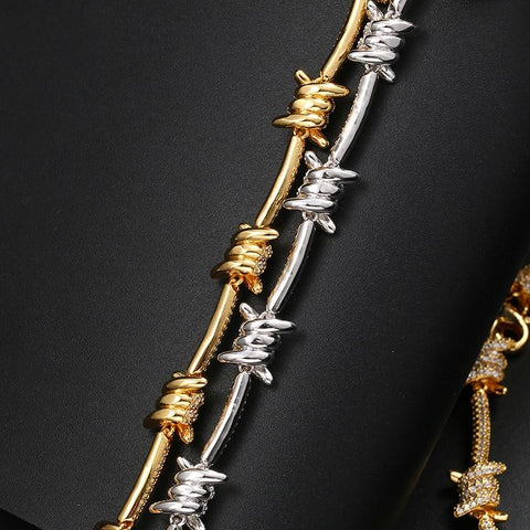Iced Out Barbed Wire Bracelet In Yellow Gold