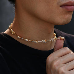Iced Out Barbed Wire Necklace In Yellow Gold