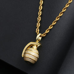 Iced Out Hand Grenade Pendant In Yellow Gold