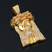 Iced Out Jesus Piece Necklace In Yellow Gold
