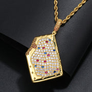 Iced Out Pop-Tart Pendant In Yellow Gold