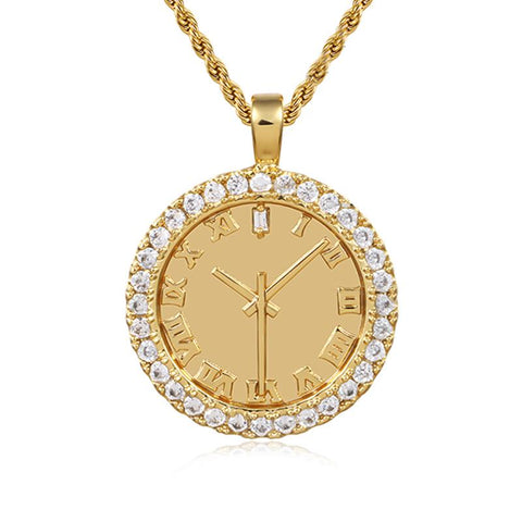 Time Is Money - Watch Face Pendant In Yellow Gold