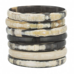 Set of 7 Buffalo Horn Dark Narrow Bangles
