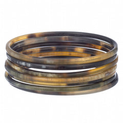 Buffalo Horn Thin Round Bangle Set
