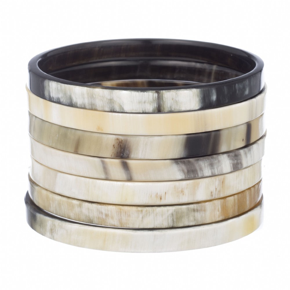 Buffalo Horn Bangle set Of 7 Narrow Flat Edge