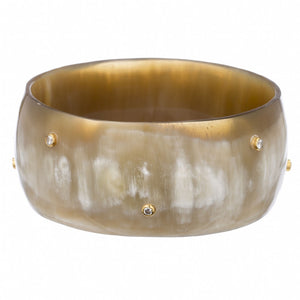 Buffalo Horn Bangle With Crystals