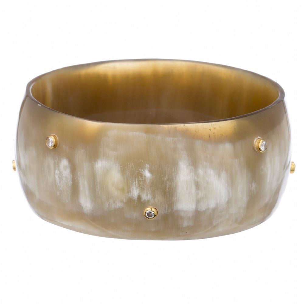 Natural Buffalo Horn Bangle with Scattered Crystals