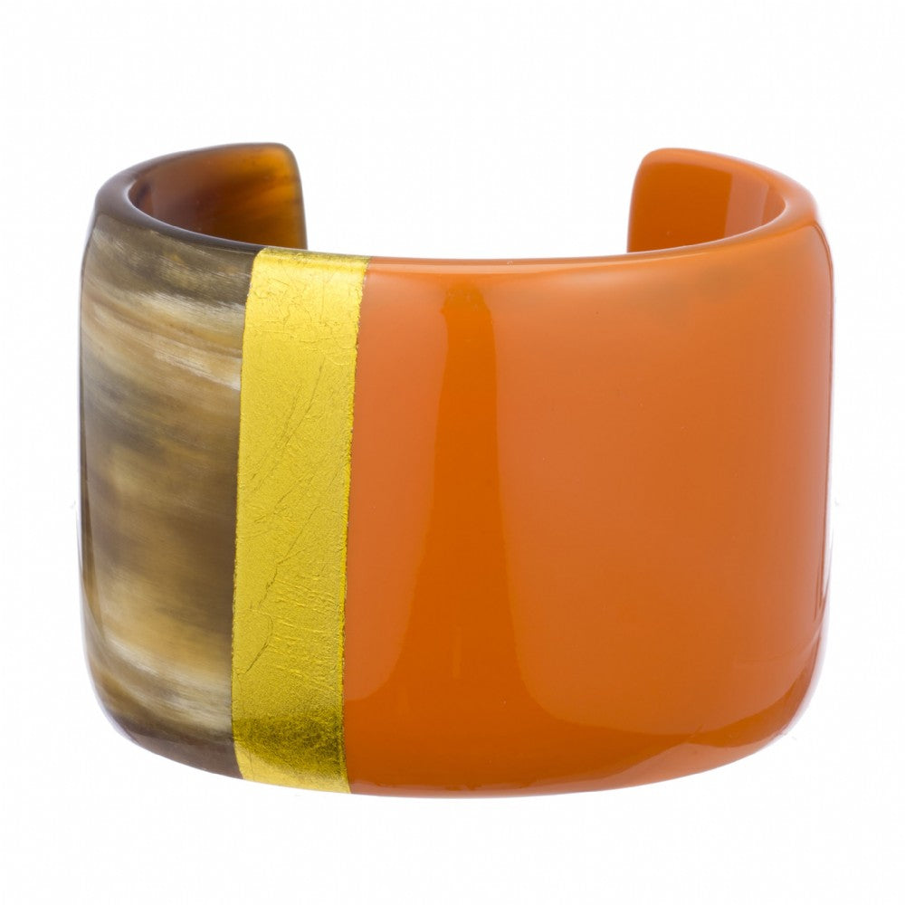 Natural Buffalo Horn  Cuff with Poppy & Gold Lacquer