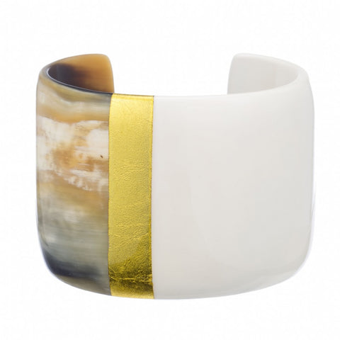 Natural Buffalo Horn  Cuff with White & Gold Lacquer