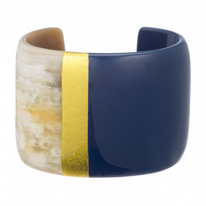 Genuine buffalo horn matt finish cuff with navy & gold leaf lacquer.