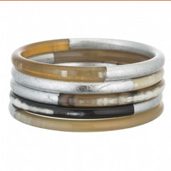 Set of 5 horn bangles with silver