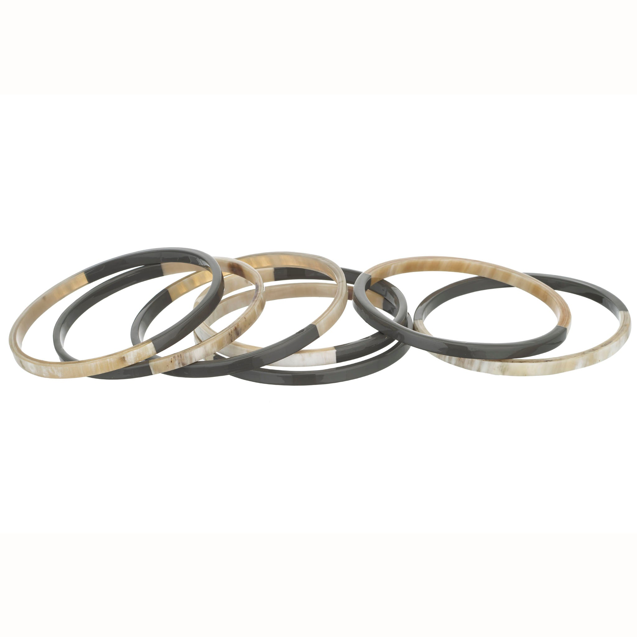 Horn Bangle Set With Lacquer