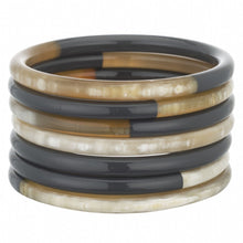 Load image into Gallery viewer, Buffalo Horn Bangle Set With Lacquer