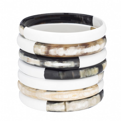Buffalo Horn Bangle Set-White Lacquer