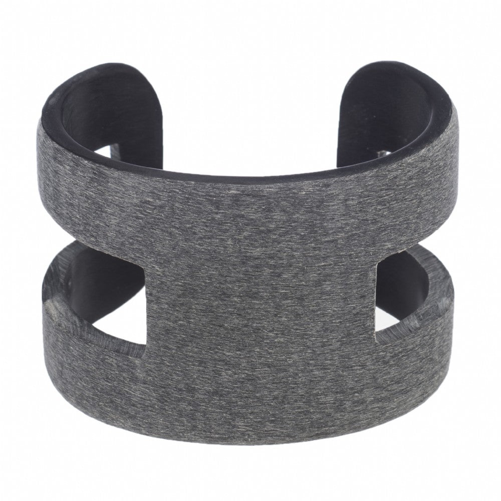 Matt Dark Gray Horn Cut Out Cuff