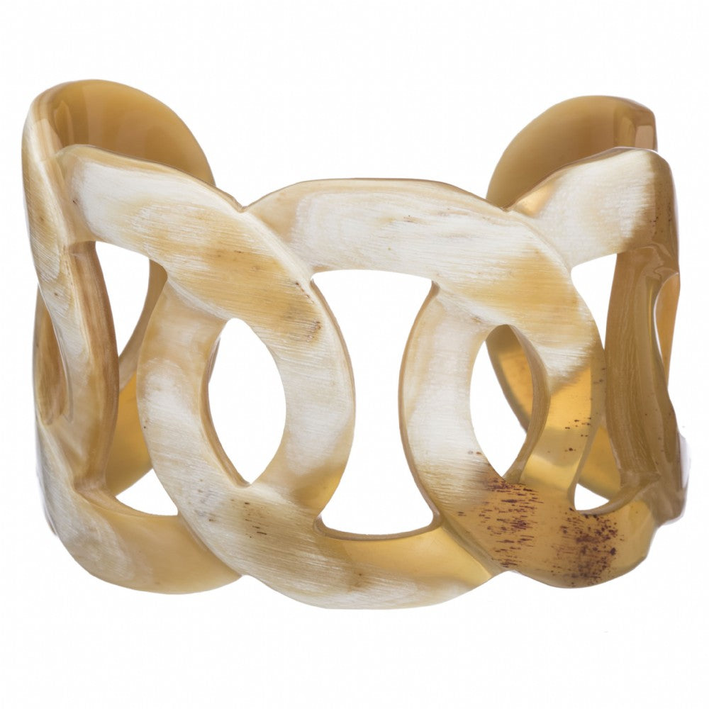 Buffalo Horn Carved Link Cuff