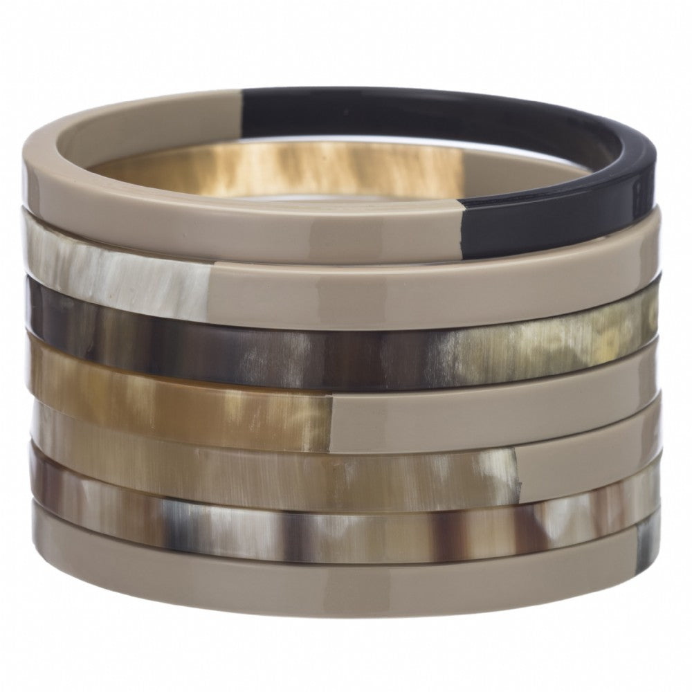 Buffalo Horn Bangle Set With Lacquer
