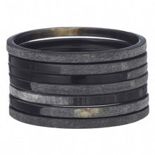 Load image into Gallery viewer, Set of 7 Matt and Gloss Finish Black Horn Bangles