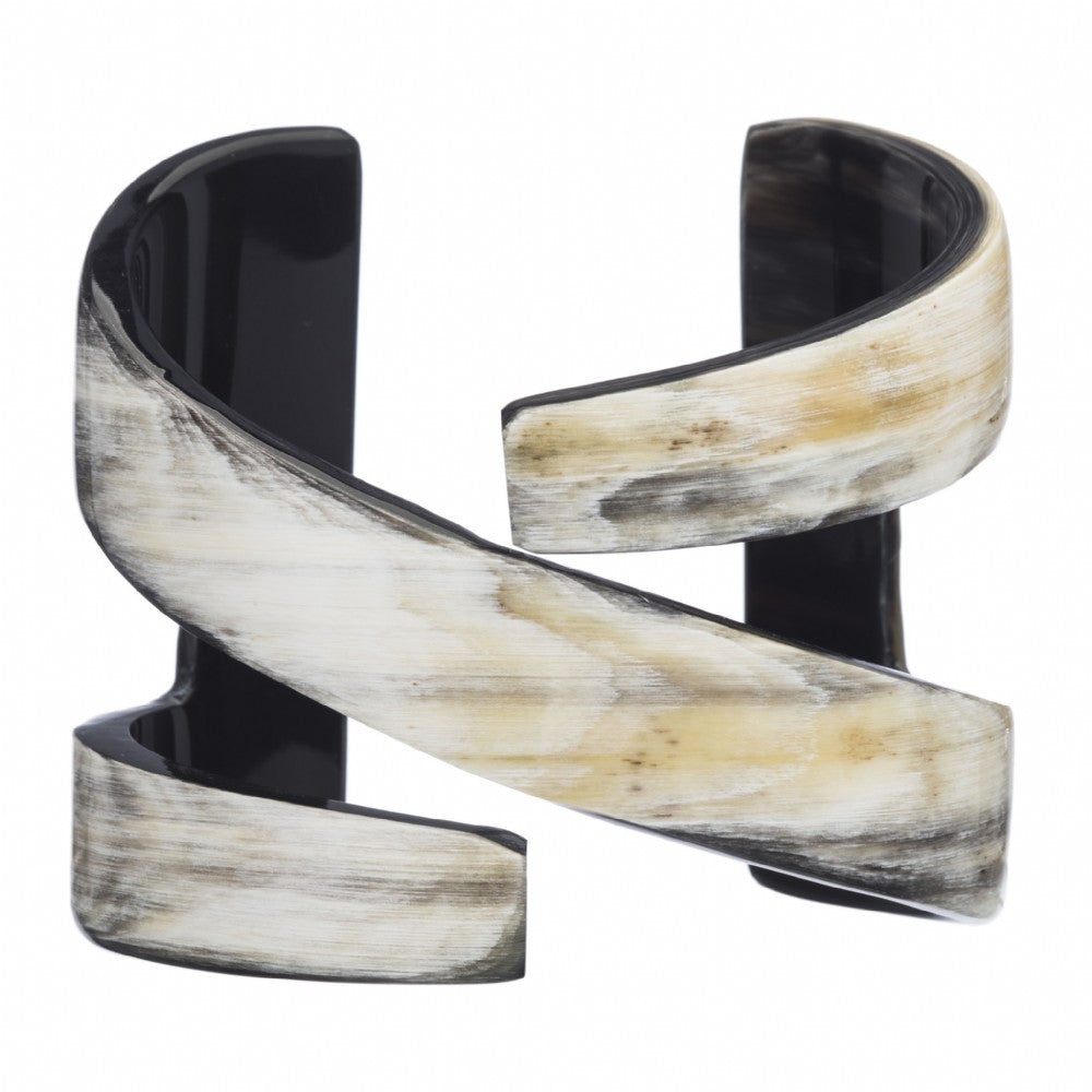 Natural Buffalo Horn Linear pattern Cuff