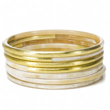 Load image into Gallery viewer, Buffalo Horn Bangle Set With Gold Accents