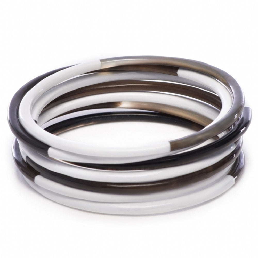 Set Of Horn Bangles White Lacquer