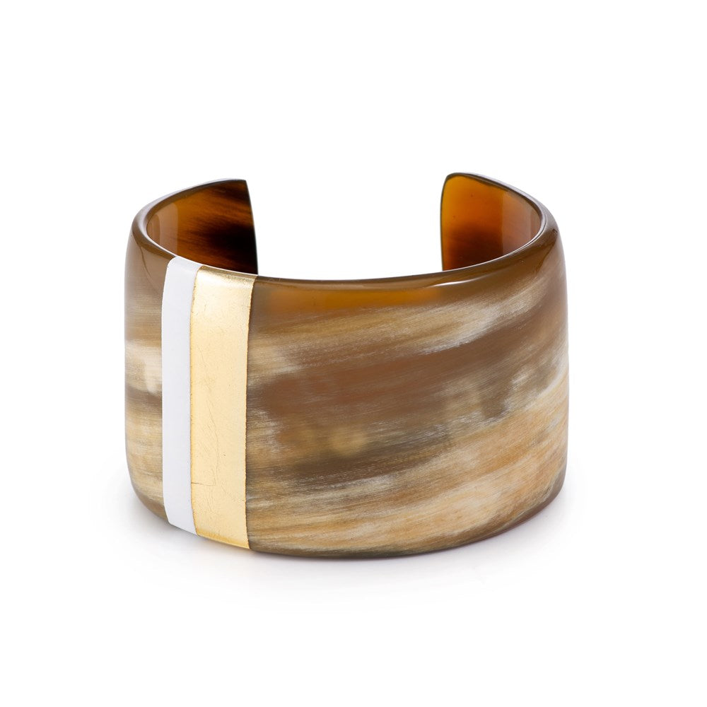 Cuff Thin Gold White Lines