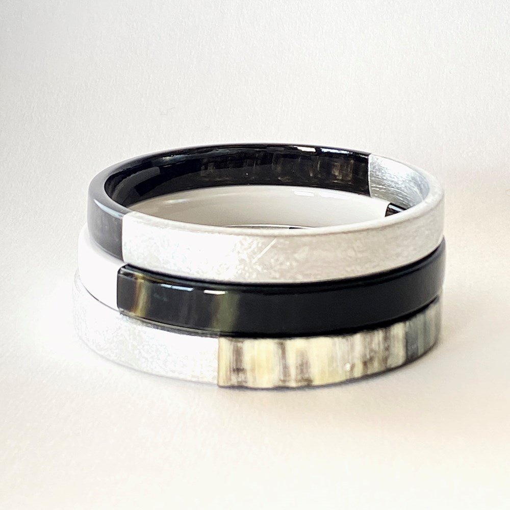 Buffalo Horn Bangle Set Lacquer Accent