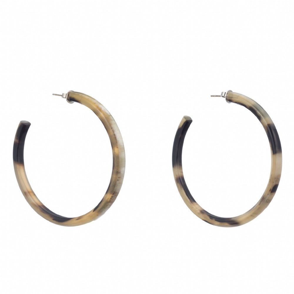Thin Buffalo Horn Hoop Earring On Post _- Vivo Direct