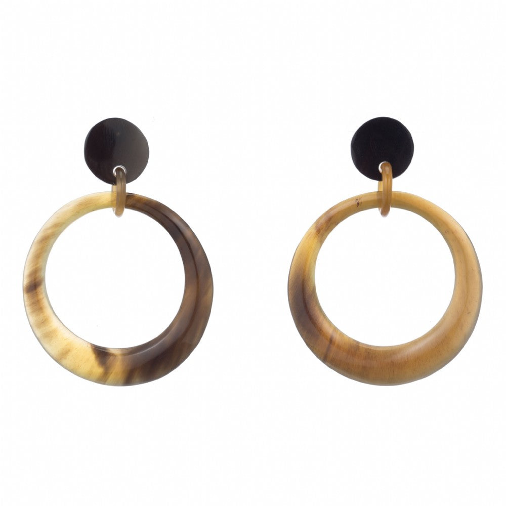 Honey buffalo Horn Hoop Earring Dropped From Post - Vivo Direct