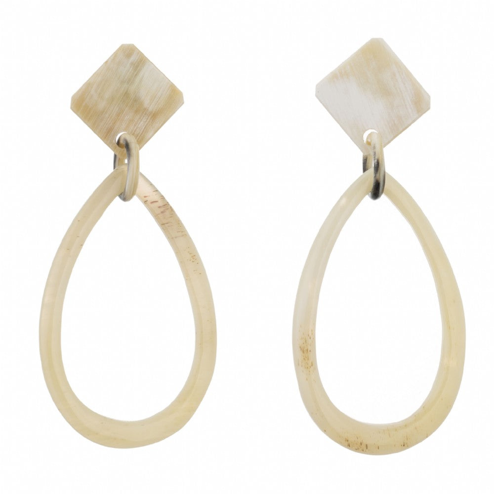 Open Tear Drop Shape Buffalo Horn Earring Dropped From Post  Vivo Direct