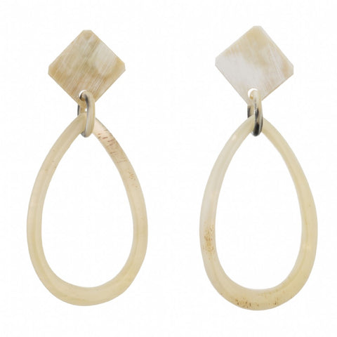 Buffalo Horn Oval Drop from Square Post  Earring