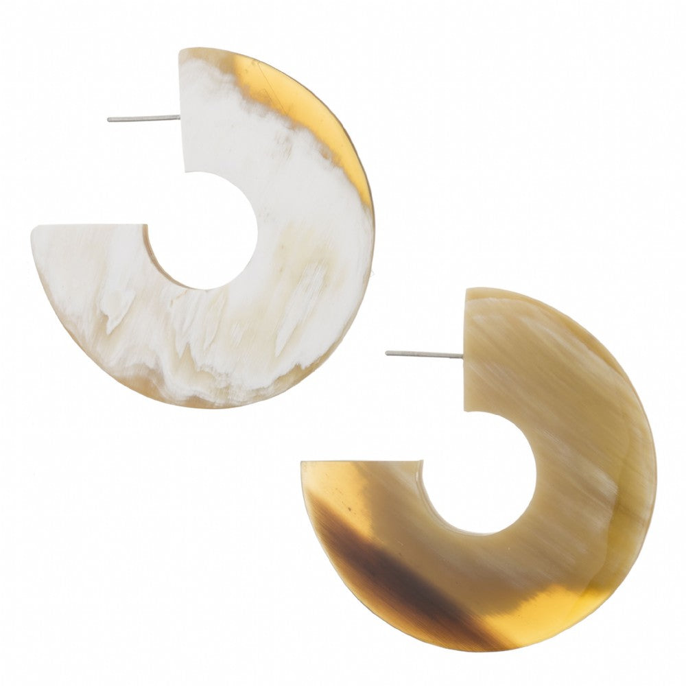 light Shade Flat Crescent Earring On Post - Vivo Direct