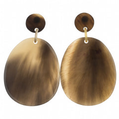 Buffalo Horn Large Flat Oval on Post Earring