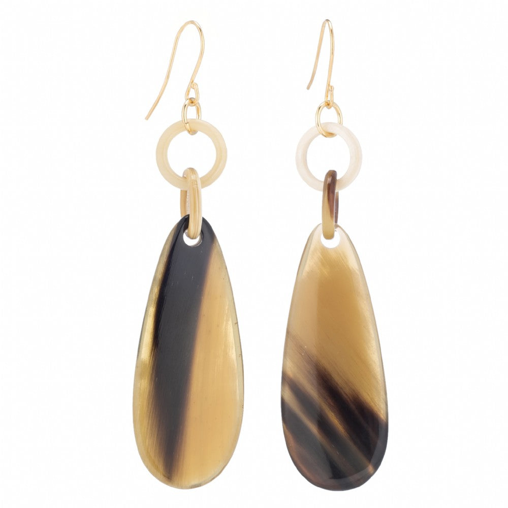 Mixed Shades Buffalo Horn Tear Drop Dropped From Post _ Vivo Direct