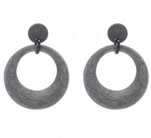 Matte Finish Black Buffalo Horn Hoop Earring On Post - Vivo Direct