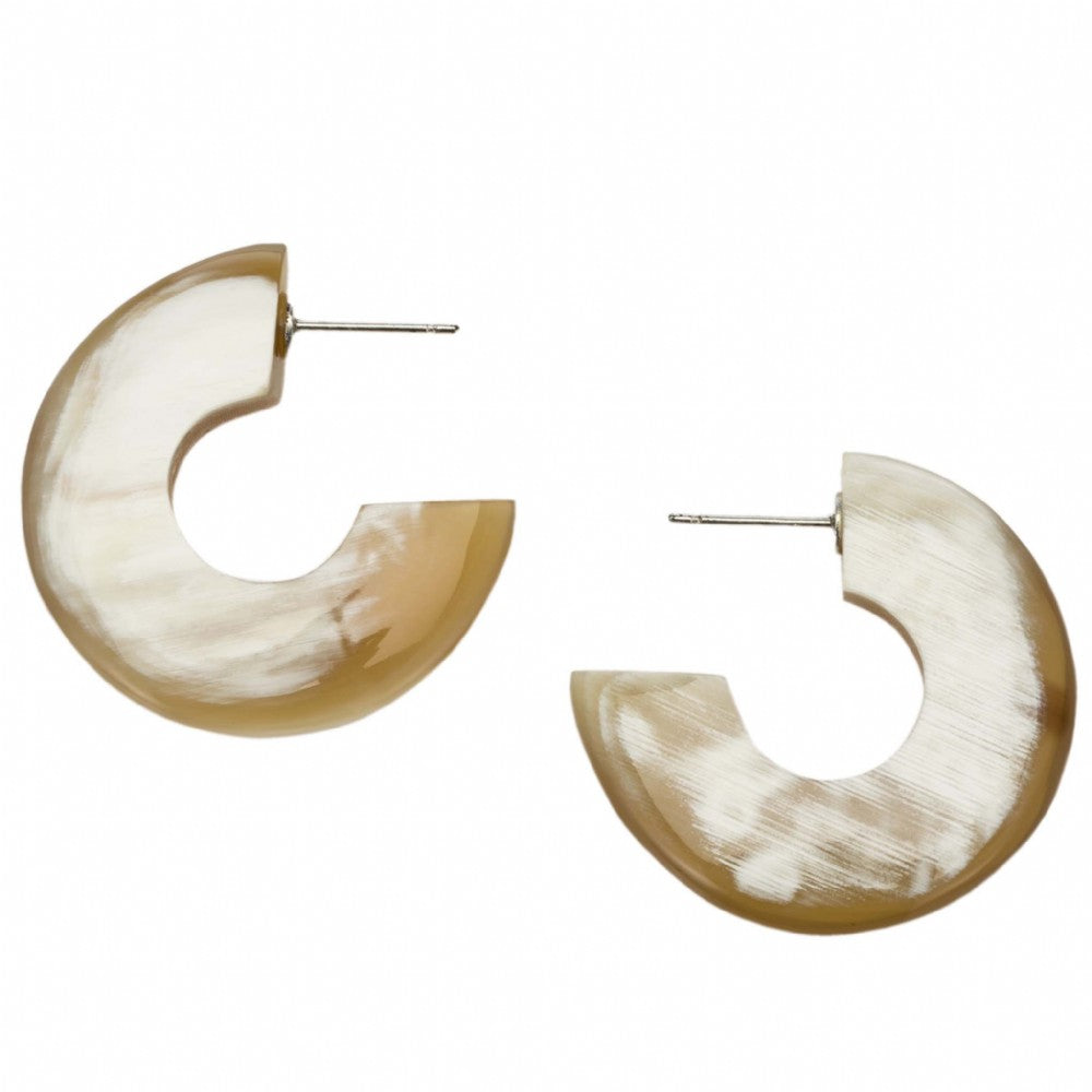 Small Buffalo Horn Flat Crescent Earrings On Post - Vivo Direct