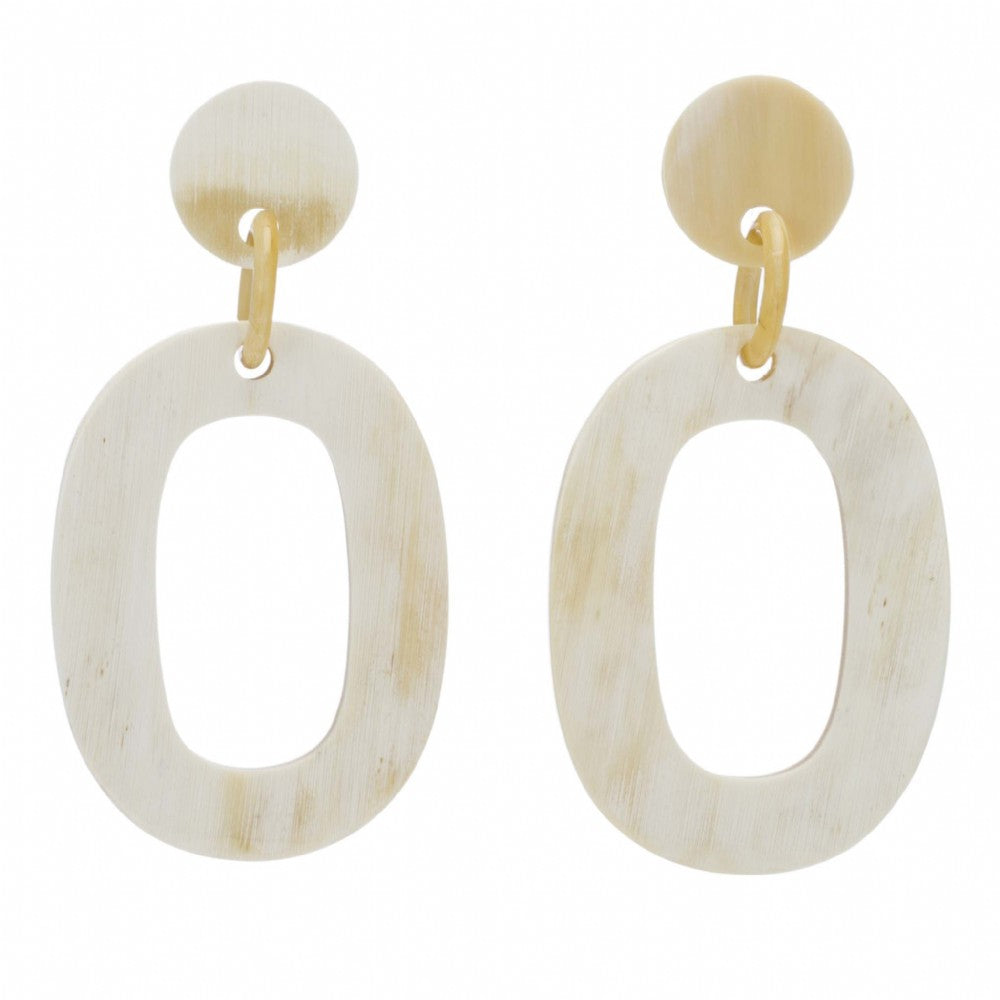 Light Shade Buffalo Horn Open Oval Earring Dropped From Post - Vivo Direct