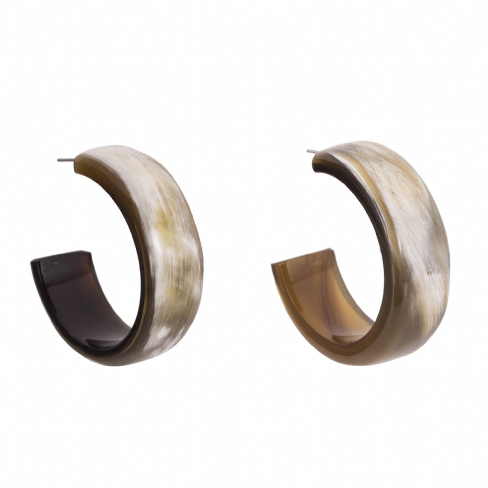 Flat Open Buffalo Horn Hoop Earrings on Post - Vivo Direct