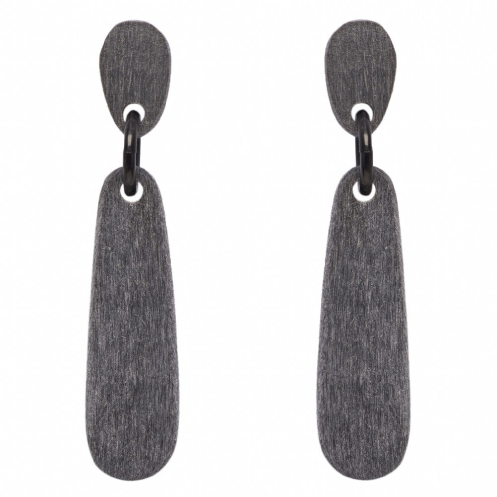 Long Matte Gray Stick Earring